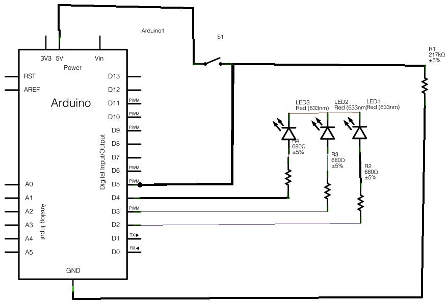 Arduino binary die